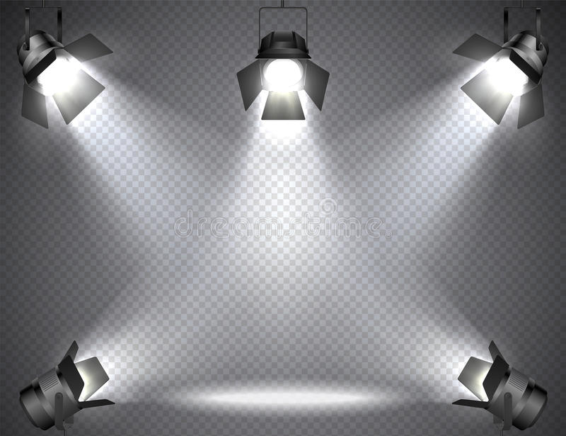 Επίκεντρα με τα φωτεινά φω'τα στο διαφανές υπόβαθρο ελεύθερη απεικόνιση δικαιώματος