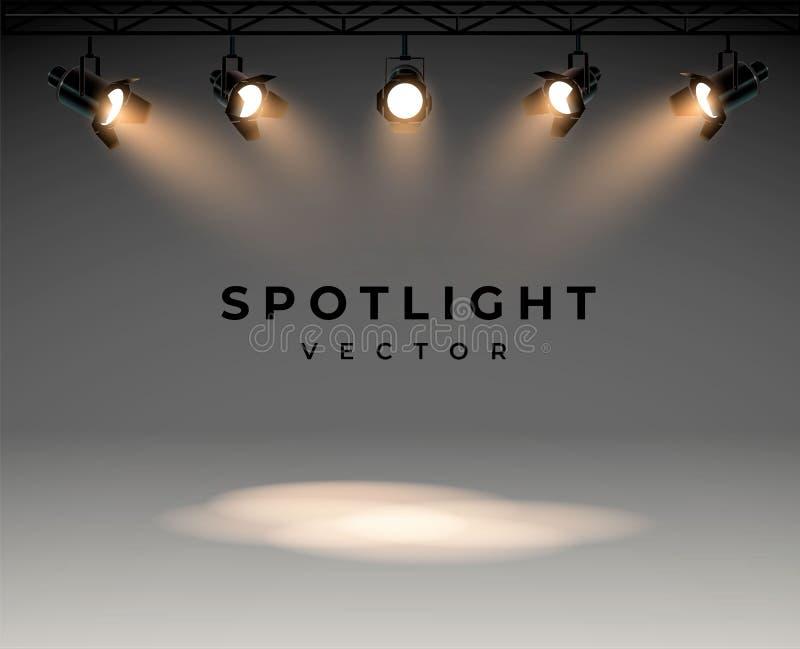 Επίκεντρα με το φωτεινό άσπρο ελαφρύ να λάμψει σκηνικό διανυσματικό σύνολο Φωτισμένος προβολέας μορφής επίδρασης, απεικόνιση απεικόνιση αποθεμάτων
