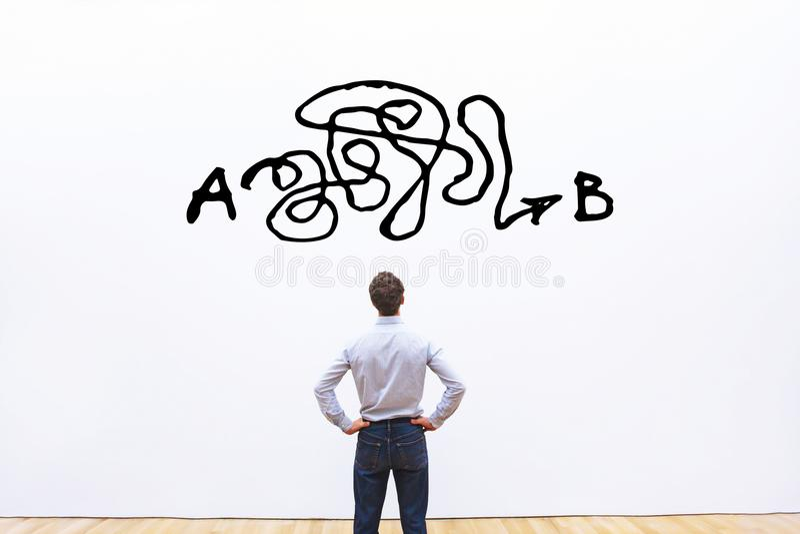 Επίλυση προβλήματος, περίπλοκη λύση από το σημείο Α στο σημείο Β, επιχειρησιακή ιδέα ή έννοια δημιουργικότητας στοκ εικόνα με δικαίωμα ελεύθερης χρήσης