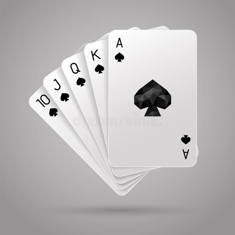 επίπεδα βασιλικά φτυάρια Χέρι πόκερ ελεύθερη απεικόνιση δικαιώματος