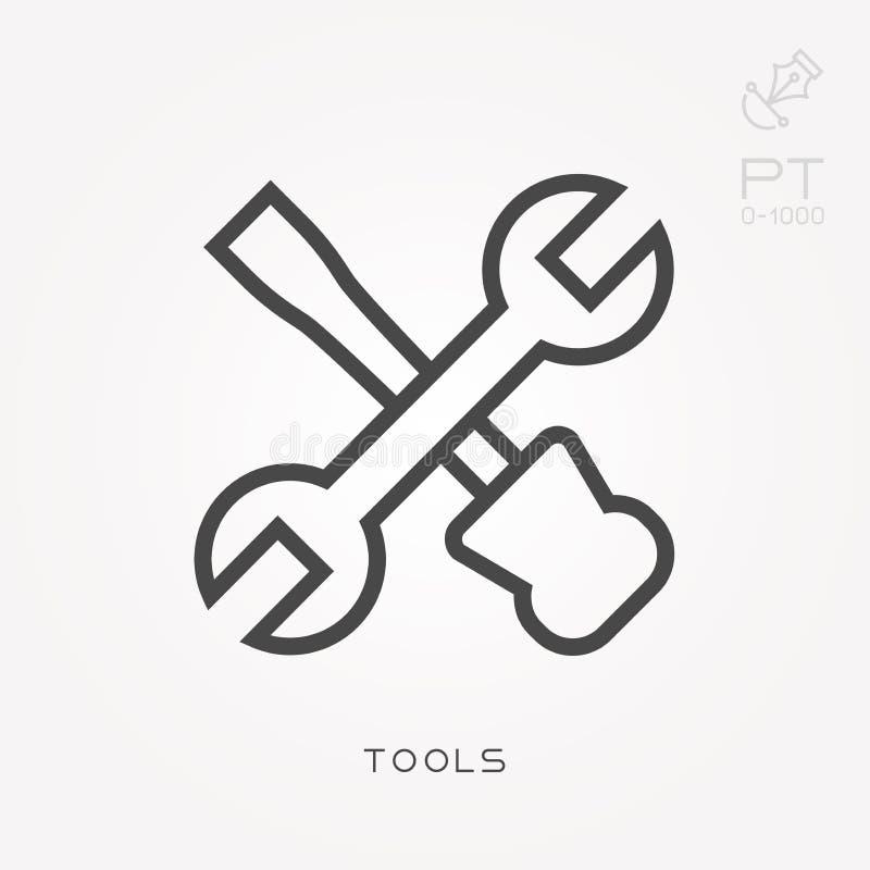 Επίπεδα διανυσματικά εικονίδια με τα εργαλεία διανυσματική απεικόνιση
