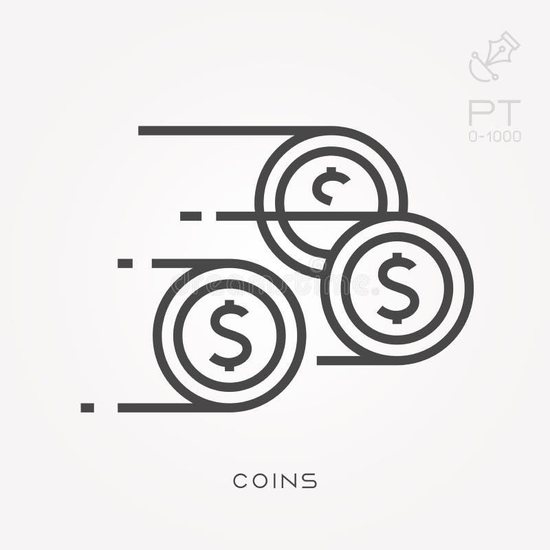 Επίπεδα διανυσματικά εικονίδια με τα νομίσματα ελεύθερη απεικόνιση δικαιώματος