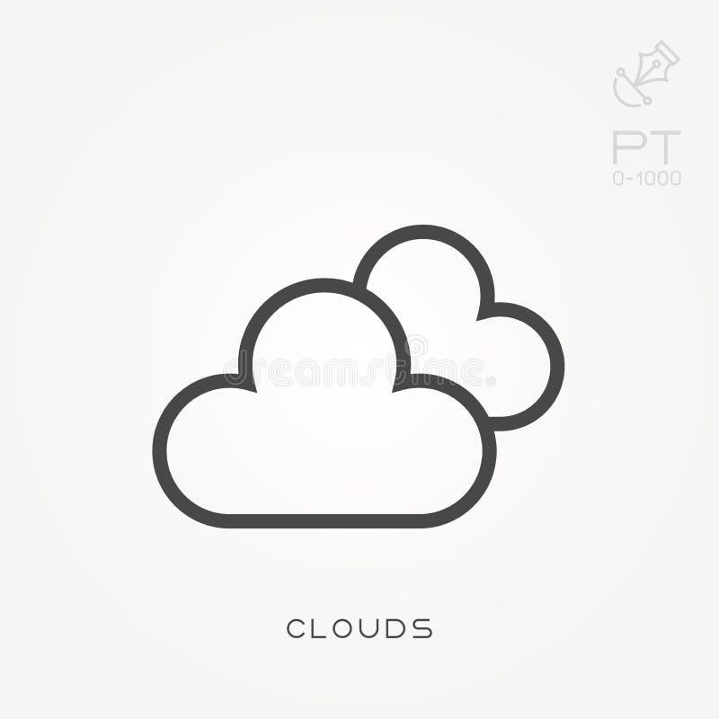 Επίπεδα διανυσματικά εικονίδια με τα σύννεφα ελεύθερη απεικόνιση δικαιώματος