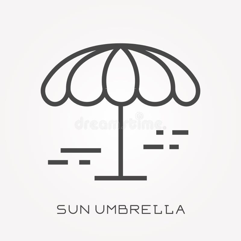 Επίπεδα διανυσματικά εικονίδια με την ομπρέλα θαλάσσης ελεύθερη απεικόνιση δικαιώματος