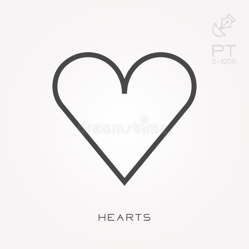 Επίπεδα διανυσματικά εικονίδια με τις καρδιές διανυσματική απεικόνιση