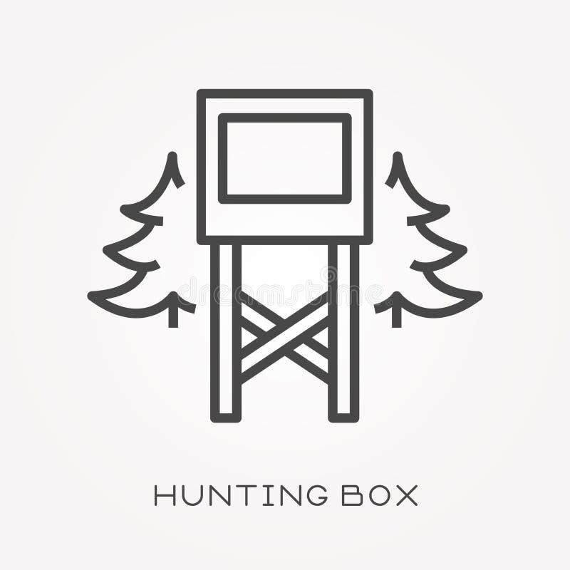 Επίπεδα διανυσματικά εικονίδια με το κιβώτιο κυνηγιού ελεύθερη απεικόνιση δικαιώματος