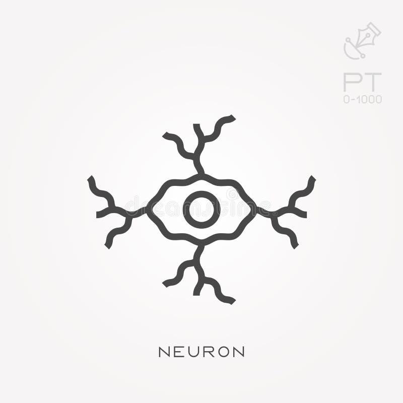 Επίπεδα διανυσματικά εικονίδια με το νευρώνα ελεύθερη απεικόνιση δικαιώματος