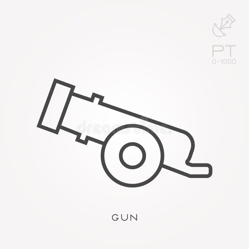 Επίπεδα διανυσματικά εικονίδια με το πυροβόλο όπλο διανυσματική απεικόνιση