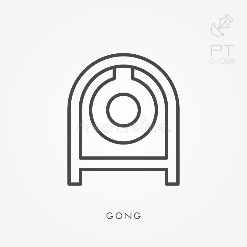 Επίπεδα διανυσματικά εικονίδια με το gong διανυσματική απεικόνιση