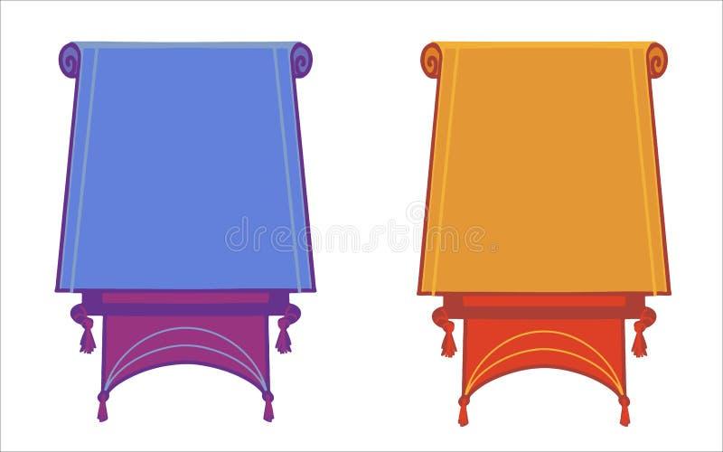 Επίπεδα διανυσματικά εμβλήματα που απομονώνονται οριζόντια στο άσπρο υπόβαθρο διανυσματική απεικόνιση