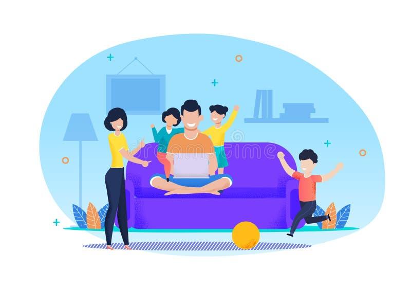 Επίπεδα διανυσματικά κινούμενα σχέδια ισορροπίας εργασίας και οικογενειακής ζωής απεικόνιση αποθεμάτων