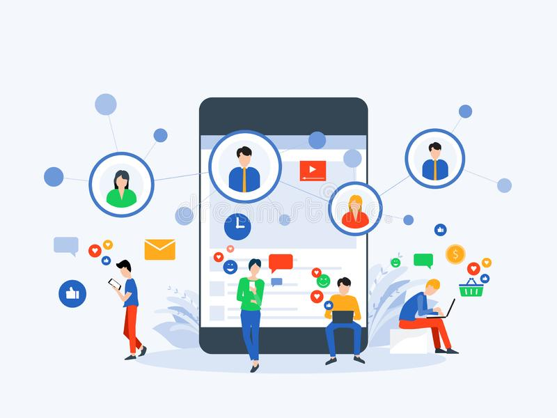Επίπεδα διανυσματικά κοινωνικά μέσα απεικόνισης και ψηφιακή έννοια σύνδεσης μάρκετινγκ σε απευθείας σύνδεση διανυσματική απεικόνιση