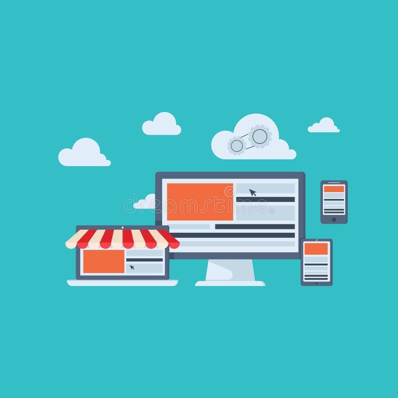 Επίπεδα εικονίδια έννοιας σχεδίου για την επιχείρηση, τον Ιστό και τις κινητές υπηρεσίες χρήματα εννοιών επιχειρησιακών υπολογιστ απεικόνιση αποθεμάτων