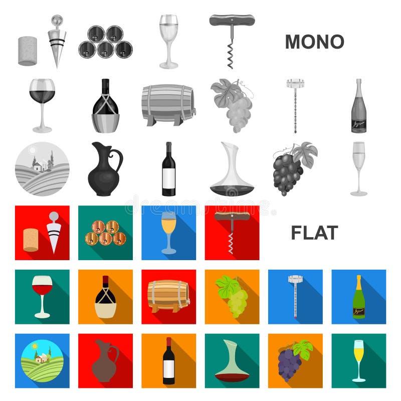 Επίπεδα εικονίδια αμπελοοινικών προϊόντων στην καθορισμένη συλλογή για το σχέδιο Εξοπλισμός και παραγωγή του διανυσματικού Ιστού  διανυσματική απεικόνιση
