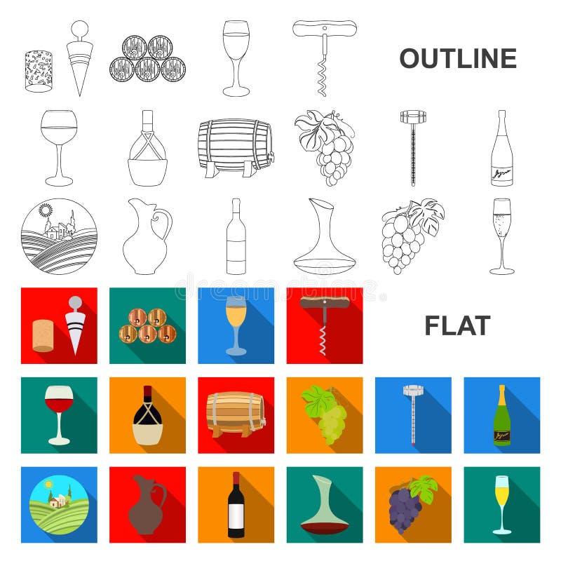Επίπεδα εικονίδια αμπελοοινικών προϊόντων στην καθορισμένη συλλογή για το σχέδιο Εξοπλισμός και παραγωγή του διανυσματικού Ιστού  απεικόνιση αποθεμάτων