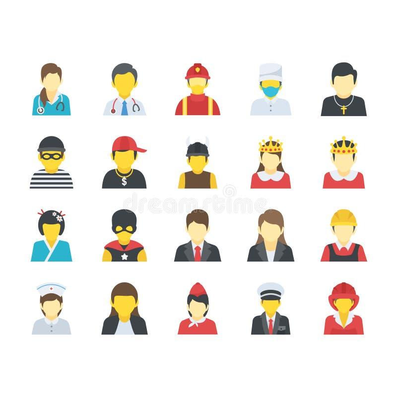 Επίπεδα εικονίδια ανθρώπων καθορισμένα ελεύθερη απεικόνιση δικαιώματος