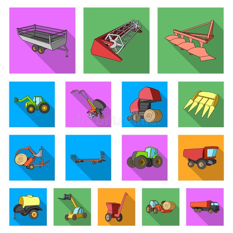 Επίπεδα εικονίδια γεωργικών μηχανημάτων στην καθορισμένη συλλογή για το σχέδιο Διανυσματικός Ιστός αποθεμάτων συμβόλων εξοπλισμού ελεύθερη απεικόνιση δικαιώματος