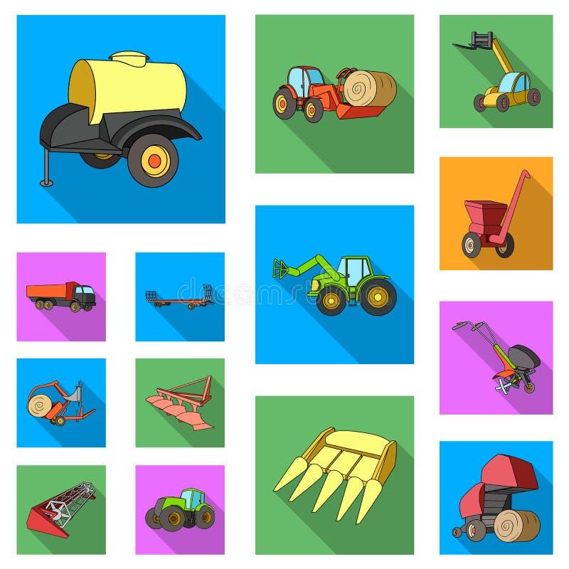 Επίπεδα εικονίδια γεωργικών μηχανημάτων στην καθορισμένη συλλογή για το σχέδιο Διανυσματικός Ιστός αποθεμάτων συμβόλων εξοπλισμού απεικόνιση αποθεμάτων