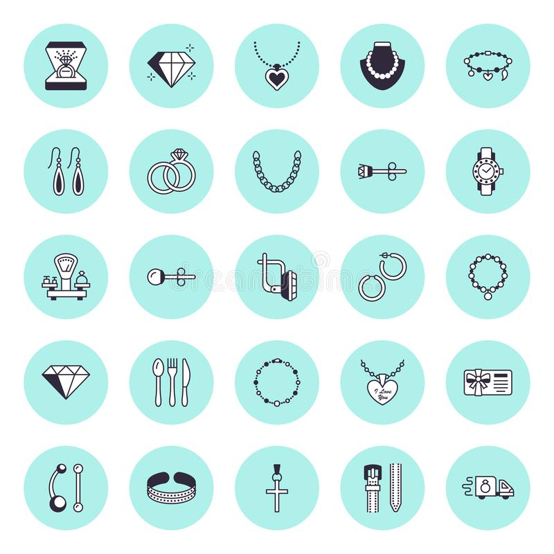 Επίπεδα εικονίδια γραμμών κοσμήματος, σημάδια καταστημάτων κοσμημάτων Θηλυκά εξαρτήματα - χρυσά δαχτυλίδια αρραβώνων, σκουλαρίκια διανυσματική απεικόνιση