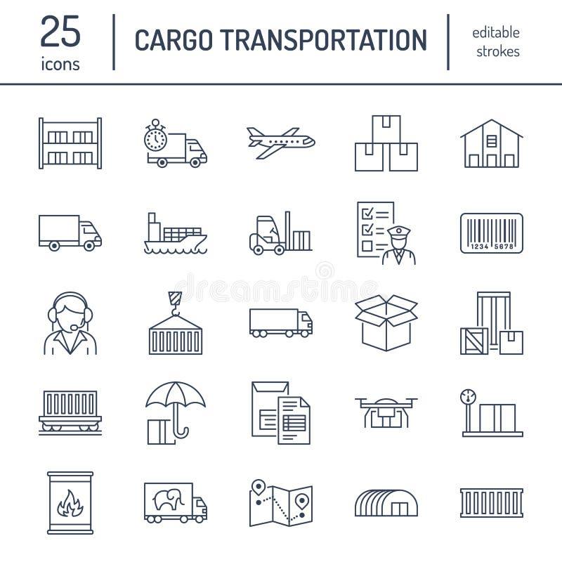 Επίπεδα εικονίδια γραμμών μεταφορών φορτίου Μεταφέροντας με φορτηγό, σαφής παράδοση, διοικητικές μέριμνες, ναυτιλία, εκτελωνισμός διανυσματική απεικόνιση