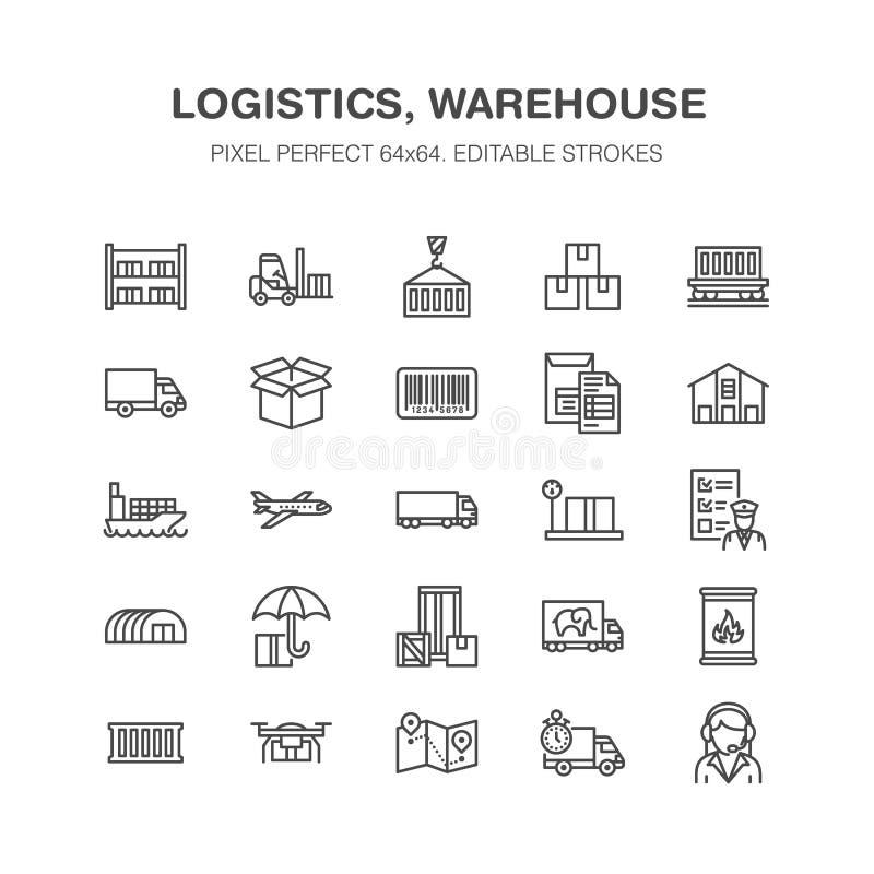 Επίπεδα εικονίδια γραμμών μεταφορών φορτίου που μεταφέρουν με φορτηγό, σαφής παράδοση, διοικητικές μέριμνες, ναυτιλία, εκτελωνισμ διανυσματική απεικόνιση