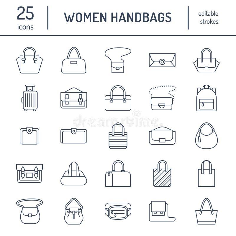 Επίπεδα εικονίδια γραμμών τσαντών γυναικών Τοποθετεί τους τύπους - crossbody σε σάκκο, σακίδια πλάτης, συμπλέκτης, totes, hobo, χ απεικόνιση αποθεμάτων