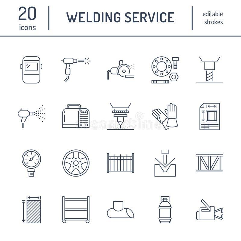 Επίπεδα εικονίδια γραμμών υπηρεσιών συγκόλλησης Κυλημένα προϊόντα μετάλλων, χαλυβουργείο, κοπή λέιζερ ανοξείδωτου, επεξεργασία, σ ελεύθερη απεικόνιση δικαιώματος
