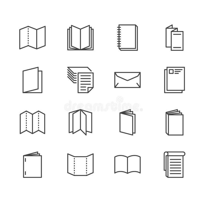 Επίπεδα εικονίδια γραμμών φυλλάδιων Απεικονίσεις επιχειρησιακής ταυτότητας - επικεφαλίδα, βιβλιάριο, ιπτάμενο, φυλλάδιο, εταιρικό ελεύθερη απεικόνιση δικαιώματος