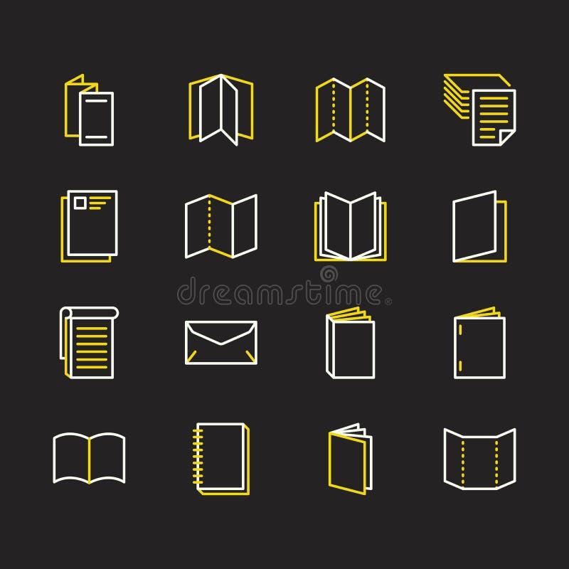 Επίπεδα εικονίδια γραμμών φυλλάδιων Απεικονίσεις επιχειρησιακής ταυτότητας - επικεφαλίδα, βιβλιάριο, ιπτάμενο, φυλλάδιο, εταιρικό διανυσματική απεικόνιση