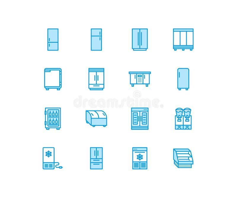 Επίπεδα εικονίδια γραμμών ψυγείων Τύποι ψυγείων, ψυκτήρας, πιό δροσερή, εμπορική σημαντική συσκευή κρασιού, κατεψυγμένη περίπτωση απεικόνιση αποθεμάτων