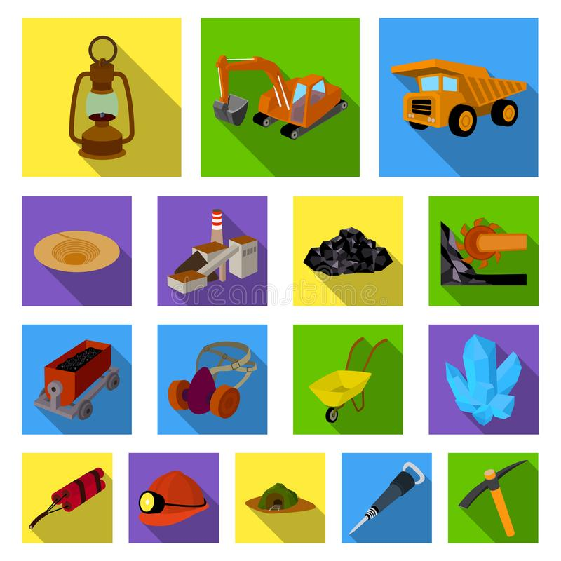 Επίπεδα εικονίδια εξορυκτικής βιομηχανίας στην καθορισμένη συλλογή για το σχέδιο Διανυσματική απεικόνιση Ιστού αποθεμάτων εξοπλισ ελεύθερη απεικόνιση δικαιώματος