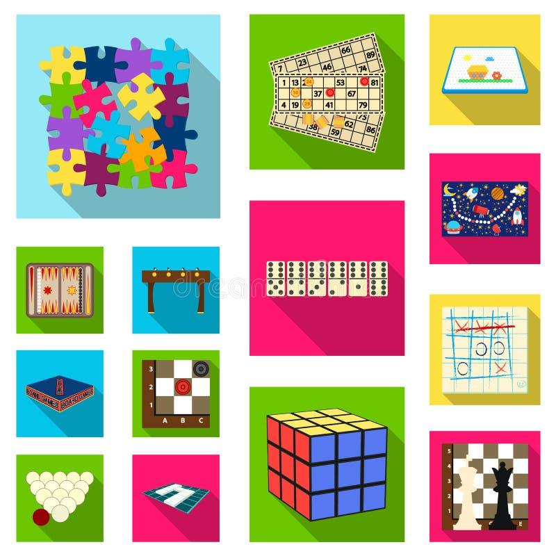 Επίπεδα εικονίδια επιτραπέζιων παιχνιδιών στην καθορισμένη συλλογή για το σχέδιο Διανυσματική απεικόνιση Ιστού αποθεμάτων συμβόλω διανυσματική απεικόνιση