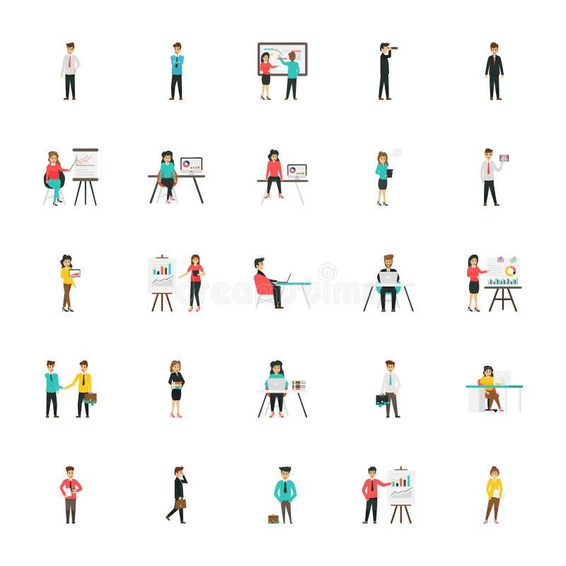 Επίπεδα εικονίδια επιχειρησιακών χαρακτήρων καθορισμένα απεικόνιση αποθεμάτων