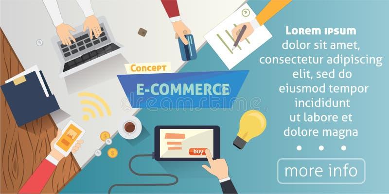 Επίπεδα εικονίδια ηλεκτρονικού εμπορίου ύφους σε απευθείας σύνδεση σχέδιο webpage εμβλημάτων κινητών καταστημάτων με τα στοιχεία  διανυσματική απεικόνιση