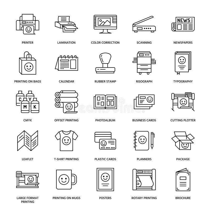 Επίπεδα εικονίδια ιδιωτικών πυροσβεστικών σωλήνων εκτύπωσης Εξοπλισμός καταστημάτων τυπωμένων υλών - εκτυπωτής, ανιχνευτής, αντισ διανυσματική απεικόνιση