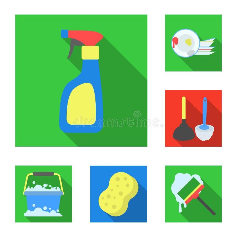 Επίπεδα εικονίδια καθαρισμού και κοριτσιών στην καθορισμένη συλλογή για το σχέδιο Εξοπλισμός για τη διανυσματική απεικόνιση Ιστού απεικόνιση αποθεμάτων