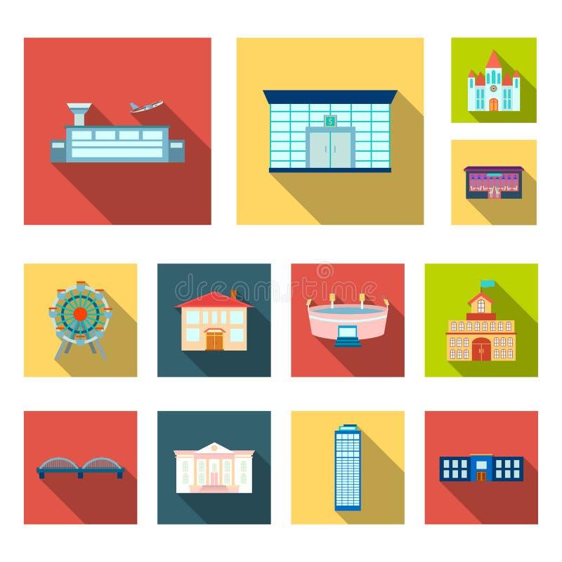 Επίπεδα εικονίδια κτηρίου και αρχιτεκτονικής στην καθορισμένη συλλογή για το σχέδιο Διανυσματικός Ιστός αποθεμάτων συμβόλων κατασ ελεύθερη απεικόνιση δικαιώματος