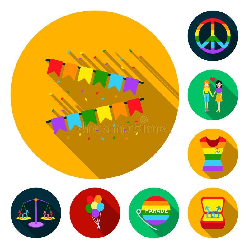 Επίπεδα εικονίδια ομοφυλόφιλων και λεσβιών στην καθορισμένη συλλογή για το σχέδιο Σεξουαλικός Ιστός αποθεμάτων μειονότητας και συ διανυσματική απεικόνιση