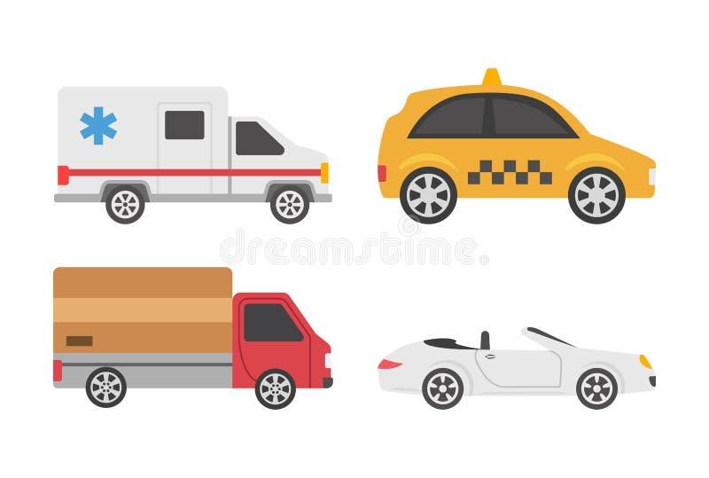 Επίπεδα εικονίδια οχημάτων απεικόνιση αποθεμάτων