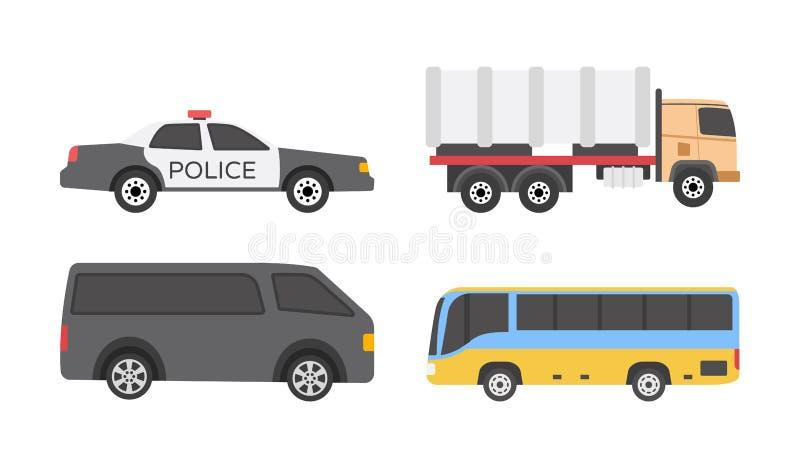 Επίπεδα εικονίδια οχημάτων διανυσματική απεικόνιση