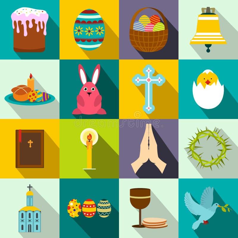 Επίπεδα εικονίδια Πάσχας διανυσματική απεικόνιση