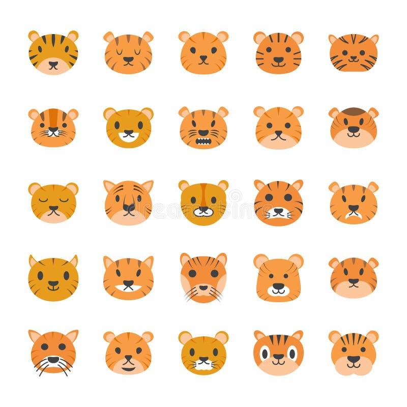 Επίπεδα εικονίδια προσώπου τιγρών διανυσματική απεικόνιση