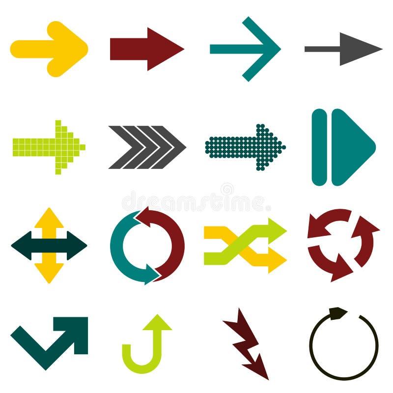 Επίπεδα εικονίδια σημαδιών βελών διανυσματική απεικόνιση