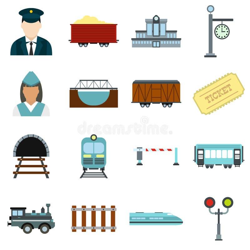 Επίπεδα εικονίδια σιδηροδρόμου καθορισμένα διανυσματική απεικόνιση