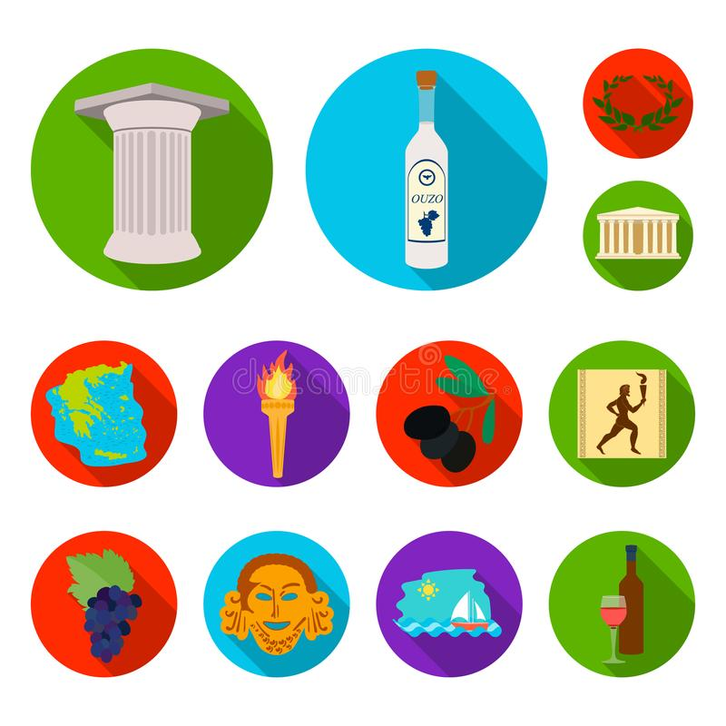 Επίπεδα εικονίδια της Ελλάδας χώρας στην καθορισμένη συλλογή για το σχέδιο Διανυσματική απεικόνιση Ιστού αποθεμάτων συμβόλων της  διανυσματική απεικόνιση