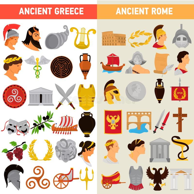 Επίπεδα εικονίδια χρώματος πολιτισμών της Ρώμης και της Ελλάδας μεγάλα καθορισμένα απεικόνιση αποθεμάτων