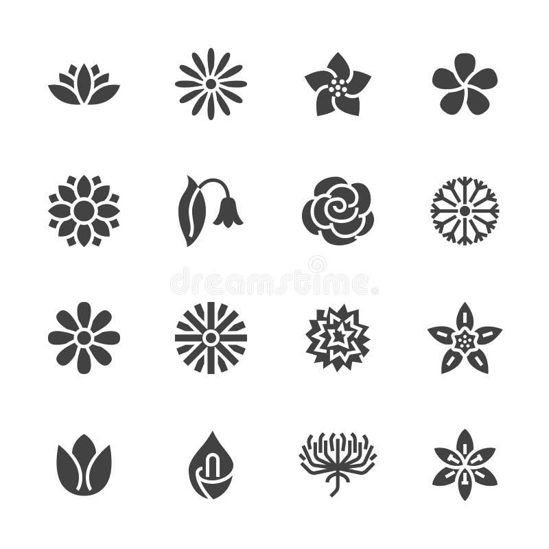 Επίπεδα εικονίδια glyph λουλουδιών Όμορφες εγκαταστάσεις κήπων - chamomile, ηλίανθος, αυξήθηκε λουλούδι, λωτός, γαρίφαλο, πικραλί διανυσματική απεικόνιση