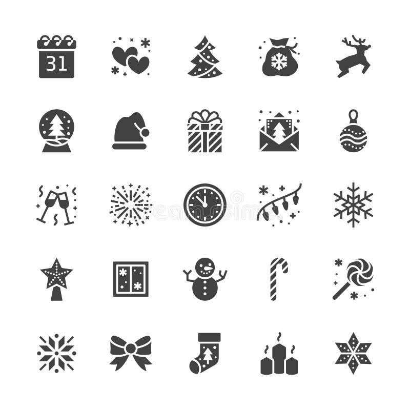 Επίπεδα εικονίδια glyph Χαρούμενα Χριστούγεννας Το δέντρο πεύκων, snowflake, τσάντα παρουσιάζει, πρόσκληση κομμάτων, χιονάνθρωπος ελεύθερη απεικόνιση δικαιώματος