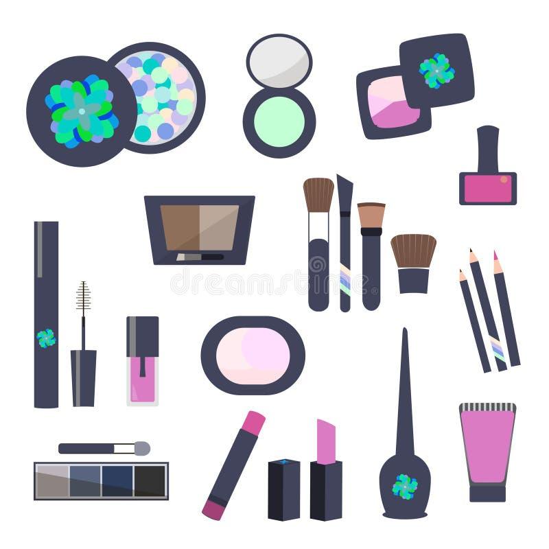 Επίπεδα εικονίδια Makeup και καλλυντικών διανυσματική απεικόνιση