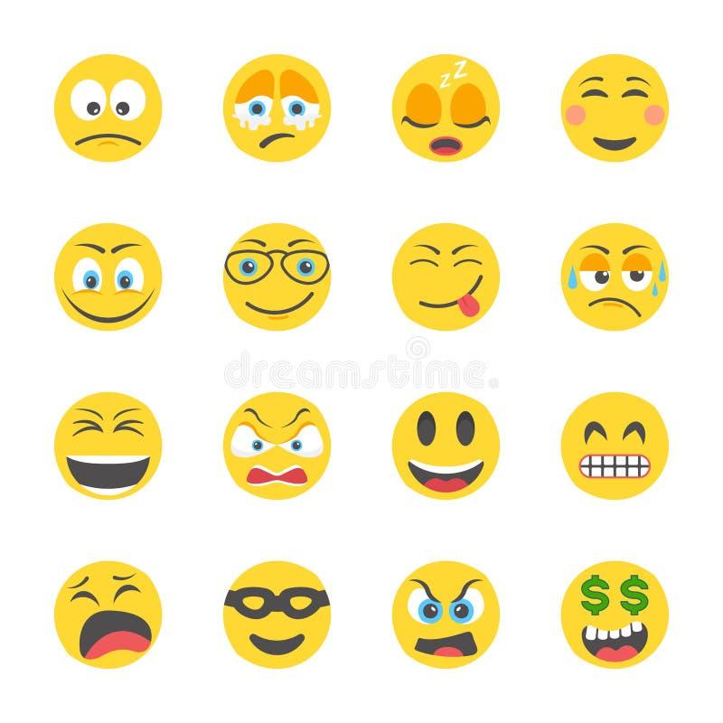 Επίπεδα εικονίδια Smileys απεικόνιση αποθεμάτων